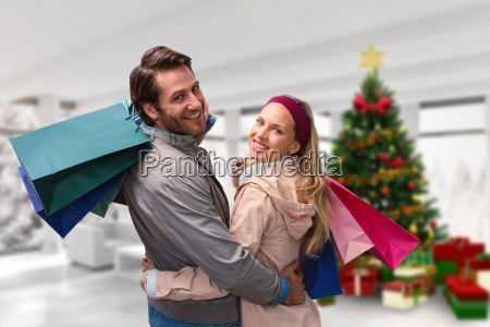 composite image of smiling couple with
