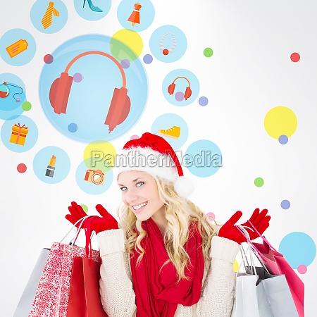 composite image of happy festive blonde