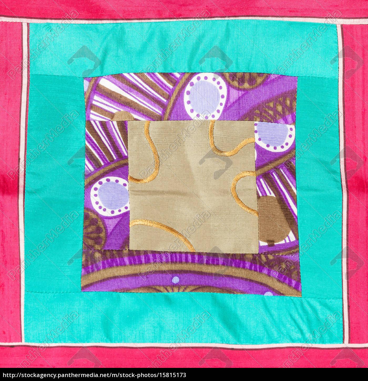 aplique, quadrado, de, pano, de, patchwork - 15815173