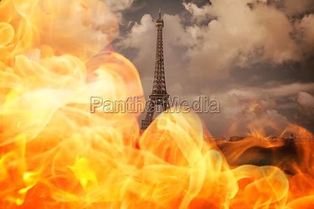 quente paris calor nublado fogo chama