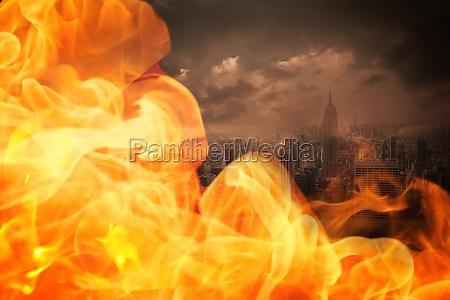 cidade quente calor nublado fogo chama