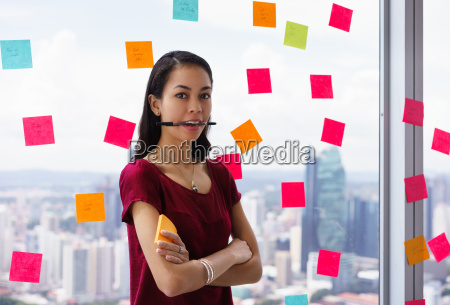 portrait busy person with many sticky