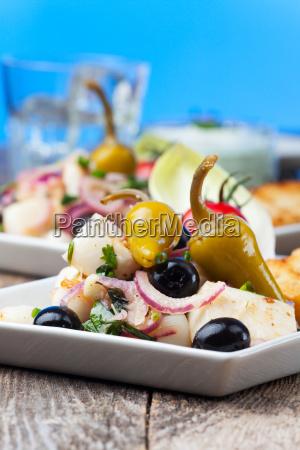 salada, grega, do, calamar - 16342353