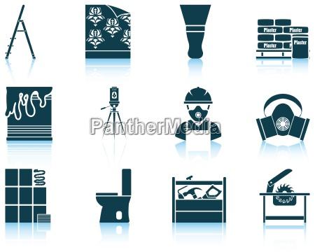 jogo de icones lisos do reparo