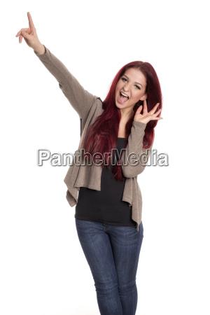 a, mulher, com, cabelo, vermelho, aponta - 16685032