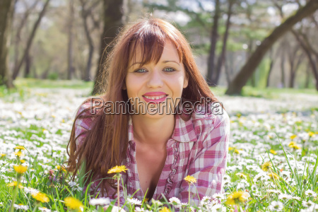 happy beautiful spring young woman