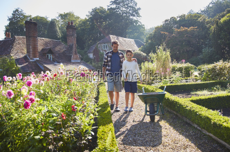 father and son walking in sunny