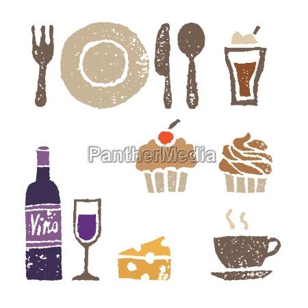 vinho e doces ilustracao de elementos
