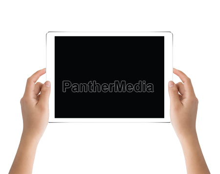 hand holding black tablet isolated on