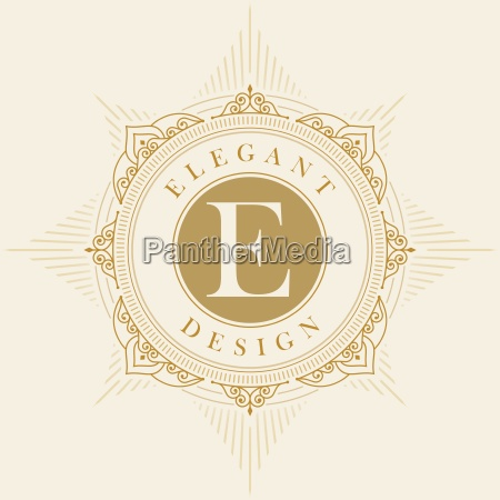 molde elegante do emblema do vetor