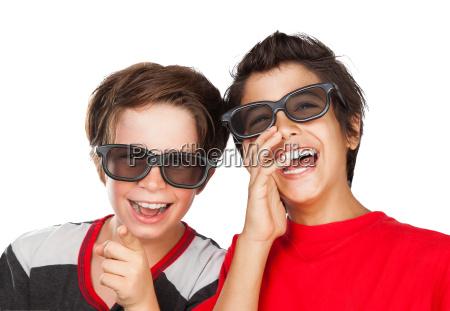happy boys watching movie