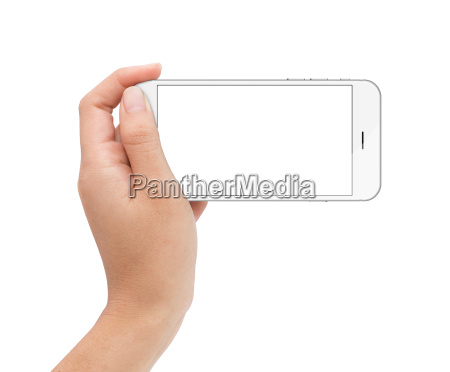 female hand holding phone white screen