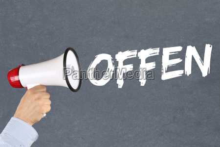aberto aberto anual business concept megafone