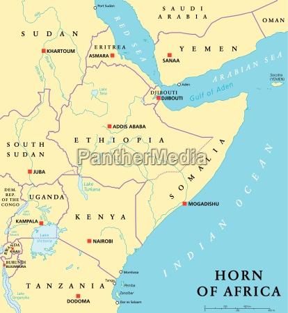 mapa politico do corno de africa