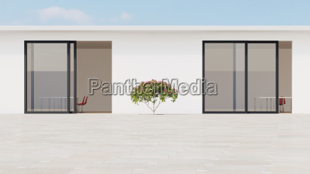 bright courtyard with red frangipani 3d