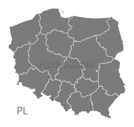 mapa de poland com regioes cinzentas