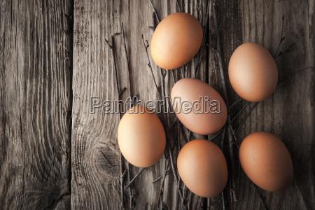 ovos da galinha em uma tabela