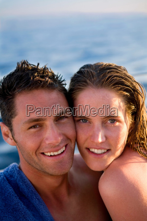 young couple portrait at beach