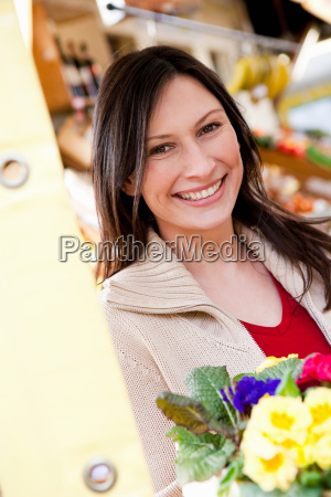 portrait of woman at marketplace