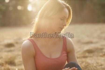 portrait of women in sunset on