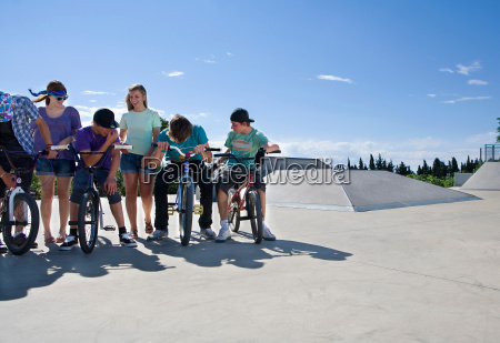 group of teenagers at bike park