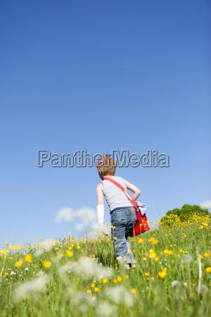 boy walking through field of flowers