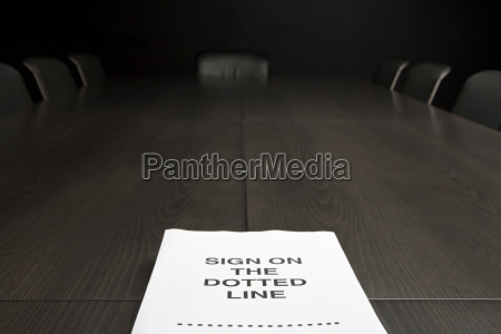 contract on a conference table