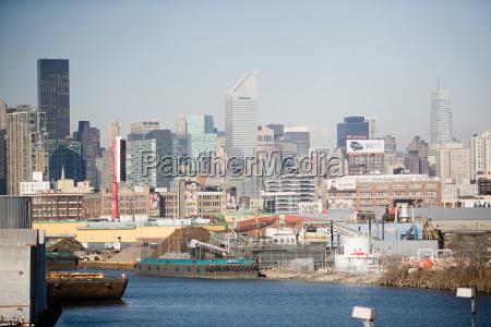 ships and skyline new york city