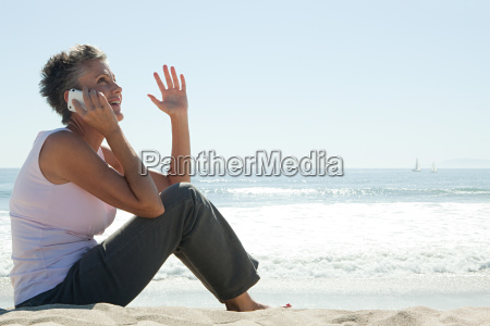 senior woman using cell phone on