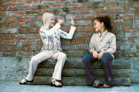 girls talking outside