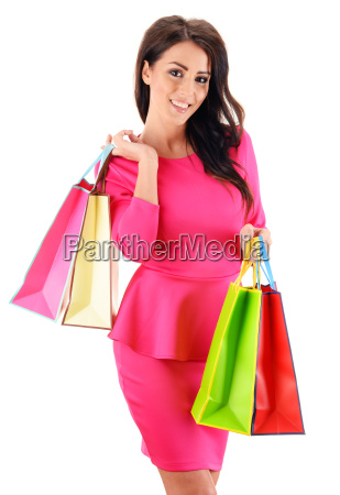 young woman with paper shopping bags