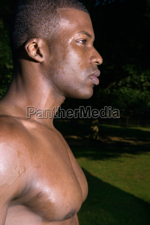 young man covered in sweat