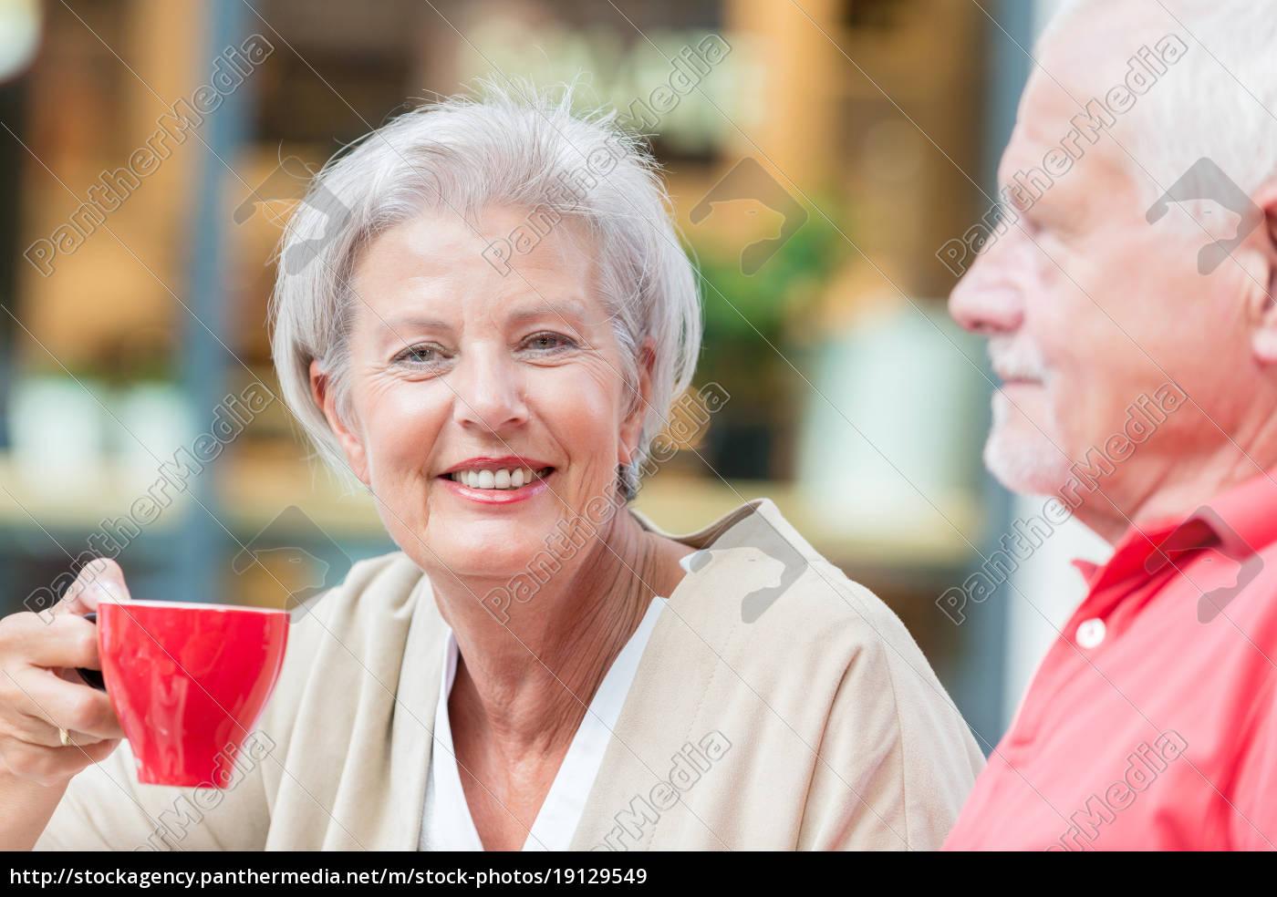 idosos, bebem, um, café - 19129549