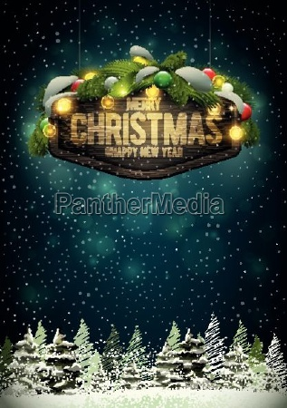 vector wooden christmas and new year