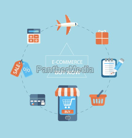 infographic concept of purchasing via internet