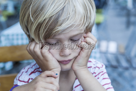 portrait of little blond boy with