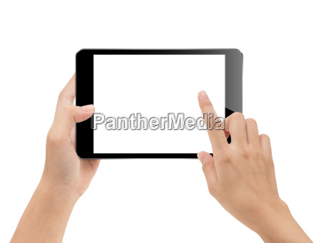 close up hand using tablet isolated