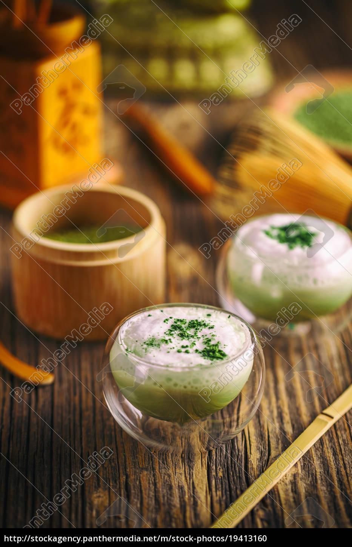 latte, do, matcha, do, chá, verde - 19413160