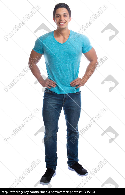 jovem, jovem, em, pé, corpo, inteiro - 19415184