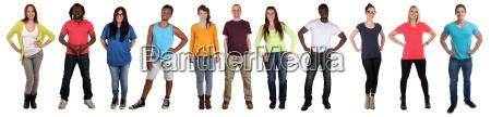 jovens, grupo, rir, corpo, inteiro, multicultural - 19415192