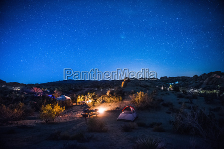 camping site at night joshua tree