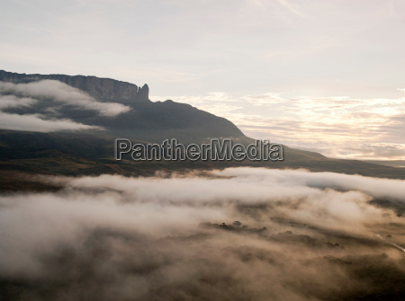 low cloud and mist covers the
