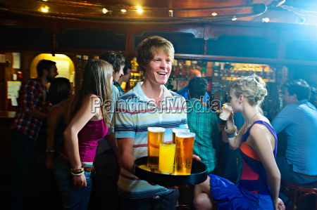 group of young people drinking in