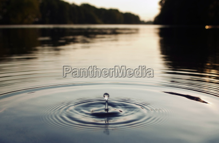 water droplet in lake