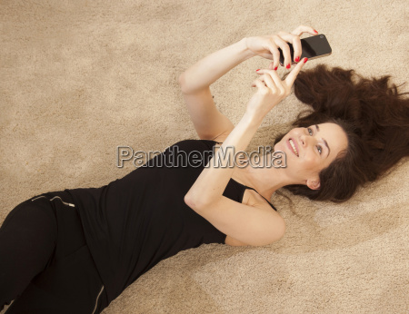 high angle view of young woman