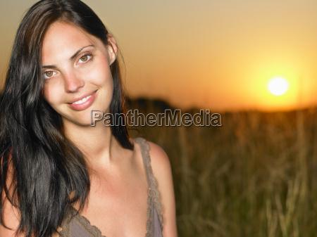 portrait of woman in a field