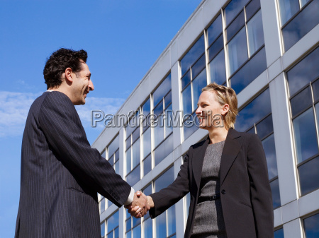 business man woman in front