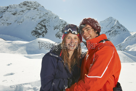 couple wearing skiwear kuhtai austria