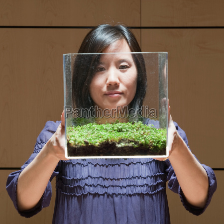 woman observing green plant