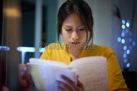 college girl student preparing exam at